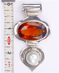 HP-01 Hessonite Colored Quartz & Pearl Pendant