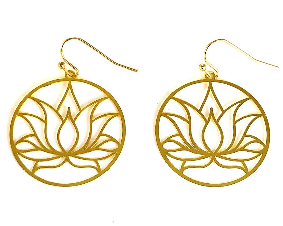 Gold Lotus Flower Earrings Best All Earring Photos Kamilmaciolcom